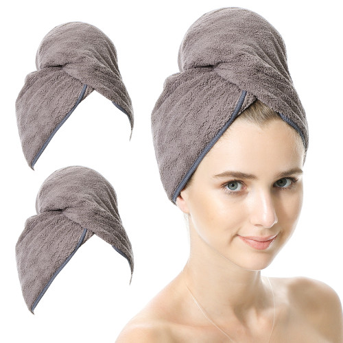 BlueSnail Women's Soft Shower Towels Wrap for Hair, Quick Dry Turban Cap for Mom, 2 Pack