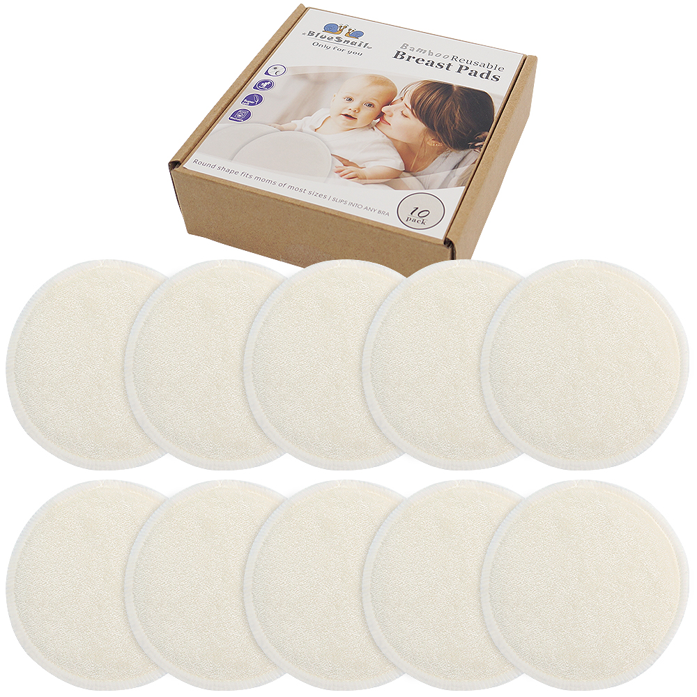 Bluesanil Bamboo Breast Pads,Washable &Reusable Nursing Pads, Leak-Proof Nipple Pads for Maternity(Pack of 10)