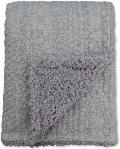 BlueSnail Toddler Knitted Blanket with Plush Shepra Fleece Layer for Boys and Girls