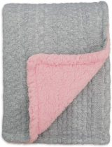 BlueSnail Toddler Knitted Blanket with Plush Shepra Fleece Layer for Boys and Girls