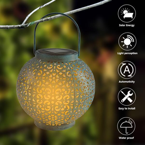 LED F8 Straw Hat Lamp Beads Solar Light Control Automatic Induction Garden Decoration Lamp IP44 Outdoor Waterproof Garden Retro Iron Lamp 600MAH Warm White Light