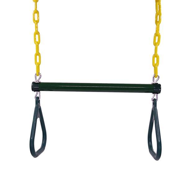 18  Trapeze Swing Bar with Rings Heavy Duty Chain Swing Set Accessories Green