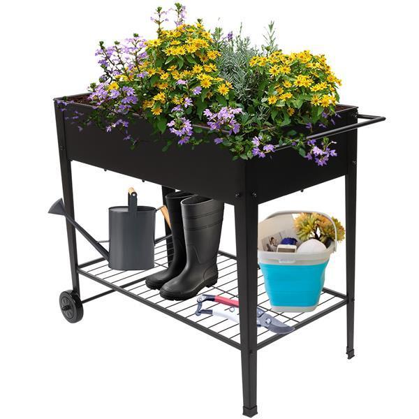 Planting Box With Wheels Black