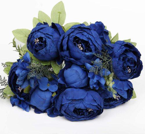 Bouquet Vintage Artificial Peonies Flower for Home Wedding Party Decor (1pcs, Royal Blue)