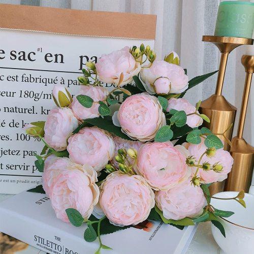 3 Pack Peonies Artificial Flowers Silk Peony Arrangement Bouquet for Wedding Centerpiece Garden Party Home Decor Vlog Fake Peonies Pink