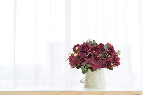 2 Packs Artificial Flowers Fake Peony Silk Hydrangea Bouquet Decor Faux Plastic Camellia Vivid Realistic Flower Arrangements Wedding Decoration Table Centerpieces (Wine red)
