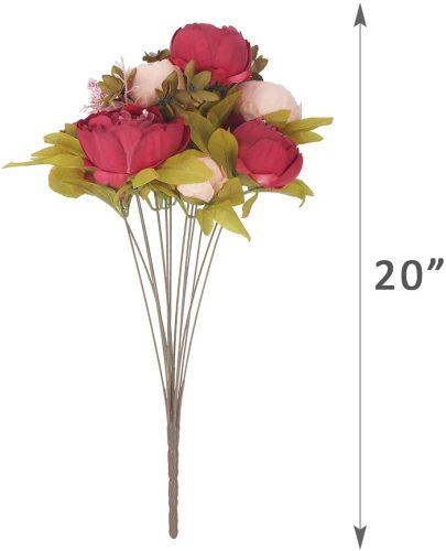 Vintage Artificial Peony Bouquet Silk Wedding Flowers, Pack of 2 Fake Flowers Home Party Festival Decoration(Dark Pink)