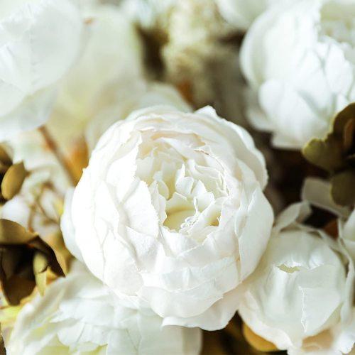 2pcs Artificial Peony Vintage Silk Flowers Bridal Bouquets Home Wedding Party Office Garden Decoration (Autumn White)