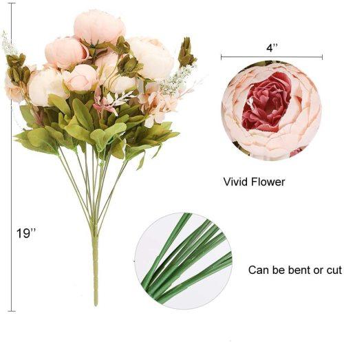 Artificial Silk Peony Flower Vintage Fake Bouquet Home Wedding Decor(Light Pink Bud)