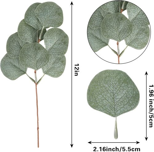 """24 Pack Artificial Greenery Decor Eucalyptus Stems 12"""" Tall Greenery Stems Fake Plant Eucalyptus Branches for Vases with 8 Leaves for Floral Arrangement Bouquets Wedding"""