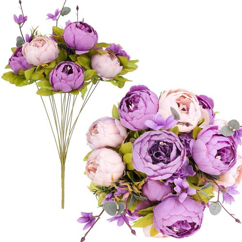 2 Bunches Purple Artificial Peonies Flowers, 12 Heads Faux Peony and Hydrangea Flowers for Decoration, Flores Artificiales para, for Wedding, Party Decor (New Purple)