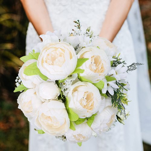 2 Bunches Artificial White Peonies Flowers, 12 Heads Faux Peony and Hydrangea Flowers for Decoration, Flores Artificiales para, for Wedding, Party Decor (Spring Cream White)