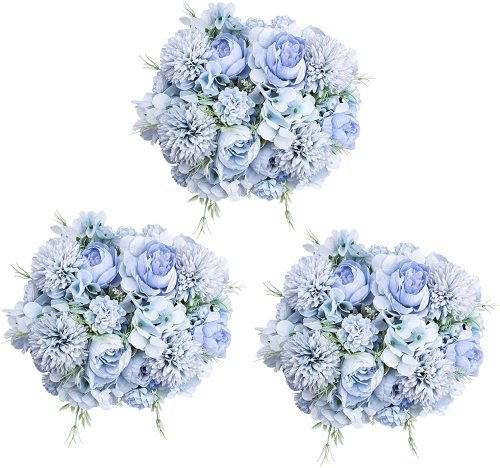 6 Pack Artificial Flowers, Fake Faux Peony Silk Hydrangea Plastic Carnations Daisy Realistic Flower Arrangements for Wedding Decoration Table Centerpieces, for Home Office Party Decor (Blue)