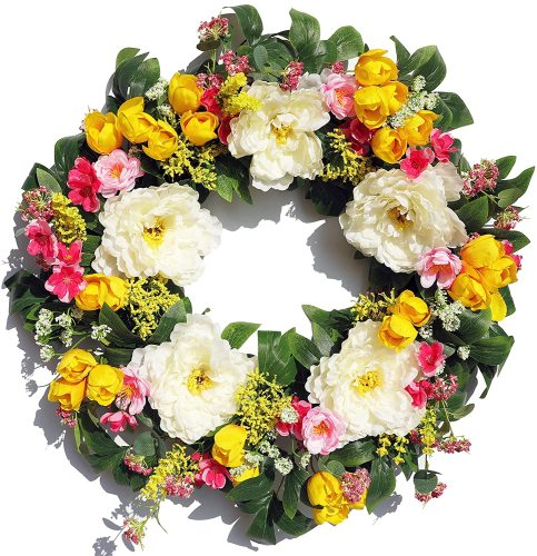 Season's Delight Spring Silk Peony and Tulip Artificial Door Wreath 22Inch, Beautiful Handcrafted Wreath Design, with White Storage Gift Box, Weatherproof Outdoor Wreath