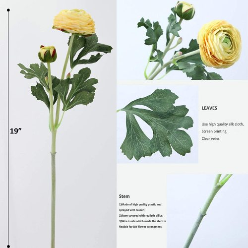 Flowers with Real Touch Stem, Silk Ranunculus Flowers(10 Pack) (Yellow)