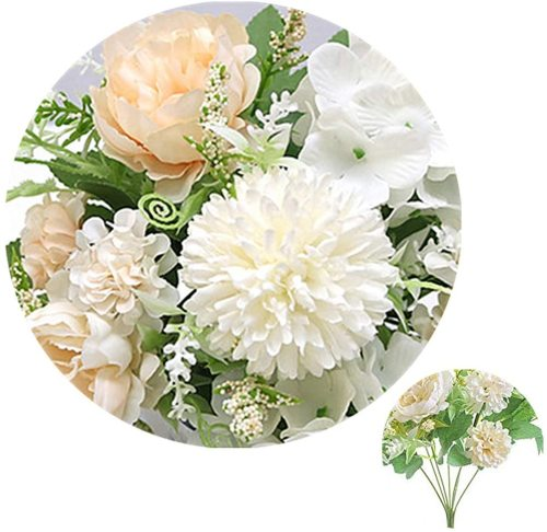 Artificial Peony Fake Flowers Silk Hydrangea Bouquet Carnations Faux Flower for Home Office Wedding Decoration 2 Packs (White)