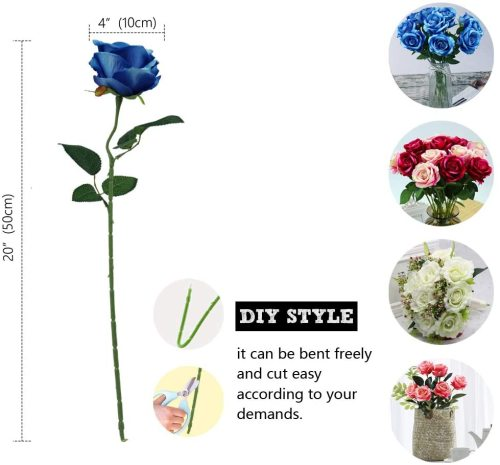 10PCS Blue Artificial Flowers Bouquets, Fake Flannel Roses,, Wedding Party Home Office Decoration