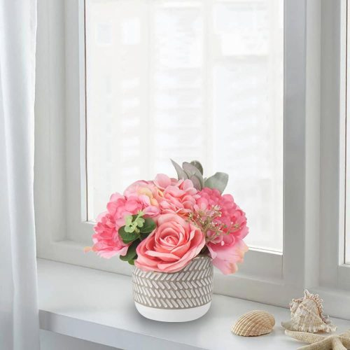 Large Artificial Potted Flower Shabby Shic Decoration Artificial Flowers Roses Hydrangeas Arrangements with Vase for Home Decor Artificial Flowers in Vase Farmhouse Decor Pink Faux Flowers in Vase