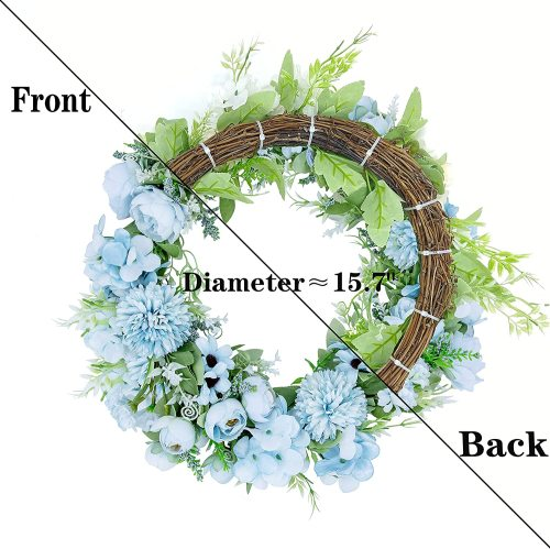 Wreaths for Front Door, Jilsgs 16 inch Fall Wreath for Front-Door, Wall Window Decor for Fake Peony Silk Hydrangea Wreath, Ideal Home/Indoor/Outdoor Party Decoration (Light Blue)