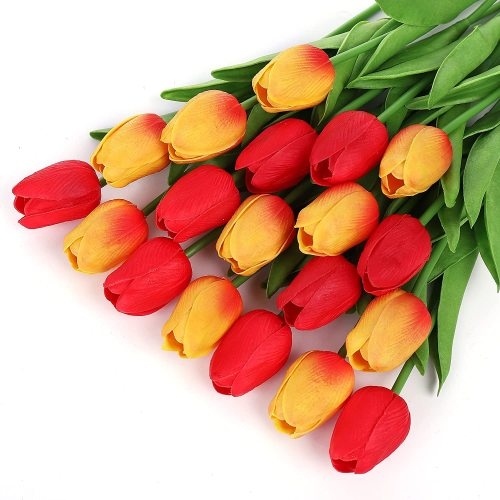 25 Artificial Flowers Real Touch Artificial Flower PU Artificial Plants Flower Arrangement Artificial Plant for Home Office and Wedding Decoration. (Red Tuilps)