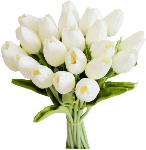 20pcs White Artificial Tulip Silk Flowers 13.5  for Home Kitchen Wedding Decorations
