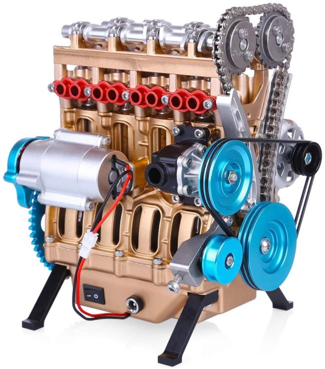 4 Cylinder Full Metal Car Engine Assembly Kit Model Toys for Adults