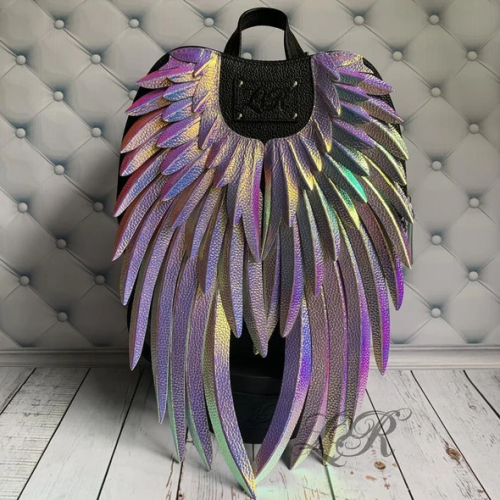 Leather Backpack with Angel Wings【Christmas promotion】