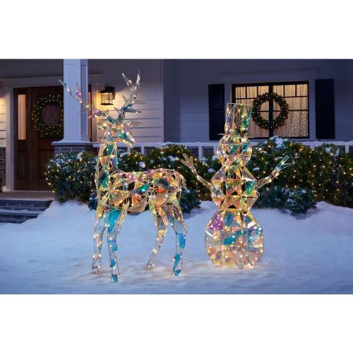 Christmas sparkling reindeer buck and snowman