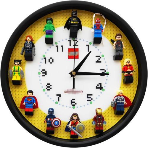 12 inch round three-dimensional minifigure building block wall clock