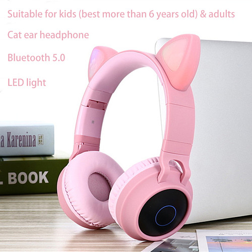 LED Cat Ear Headphones Noise Cancelling Bluetooth 5.0 Adults and Kids Headset Support TF Card FM Radio With Mic Wireless+Wired