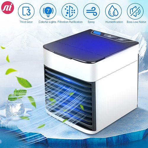 Home Mini Air Conditioner Portable Air Cooler Personal Space Air Cooling USB Rechargeable Air Conditioning Colors Light Desk Fan