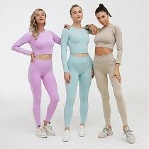 Seamless Sportswear Long Sleeve Top Yoga 2 PCS Sports Shirts Bra+Leggings Gym Clothes Sport Fitness Tracksuit Workout Set Female