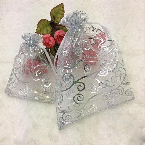 10Pcs Silver Rattan Organza Bags Wedding Home Christmas Decoration Favors Gifts Craft Jewelry Packaging Organza Pouches