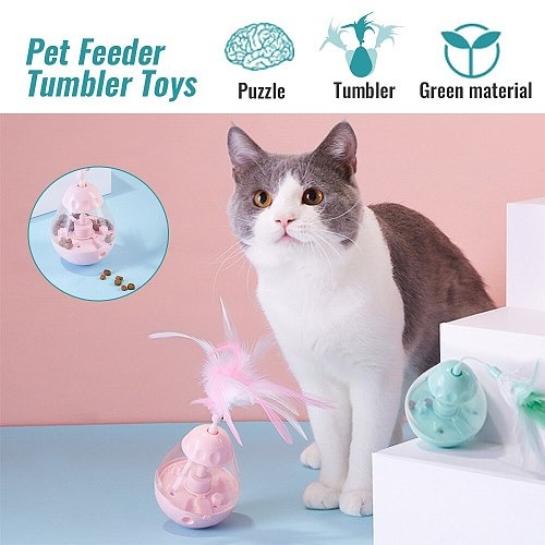 Interactive Cat Toy Cats Food Treat Ball Feather Toy For Dog Slow Feed Tumbler Toys Puppy Funny Leakage Food Container