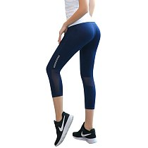 Leggings Women's Yoga Capris Tight Side Mesh Panel Hip Push Up Sport Leggings Quick Dry Breathable Gym Workout Cropped Pants