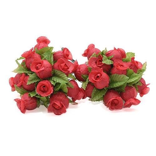 36/72/144pcs Artificial Flower Silk Rose Flower Bouquet for Wedding Party Home Decoration DIY Wreath Scrapbook Gift Box Craft