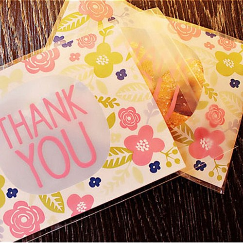 50pcs 100pcs 10*13cm Thank You Thanks Candy Cookie Bags Wedding Party Thanksgiving Day Gift Bag Plastic Biscuit Packaging Bag