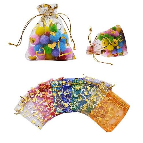 20pcs/lot 7x9 9x12 11x16 13x18cm Heart Organza Bags Wedding Christmas Gift Bags Jewelry Packaging Organza Bags & Pouches