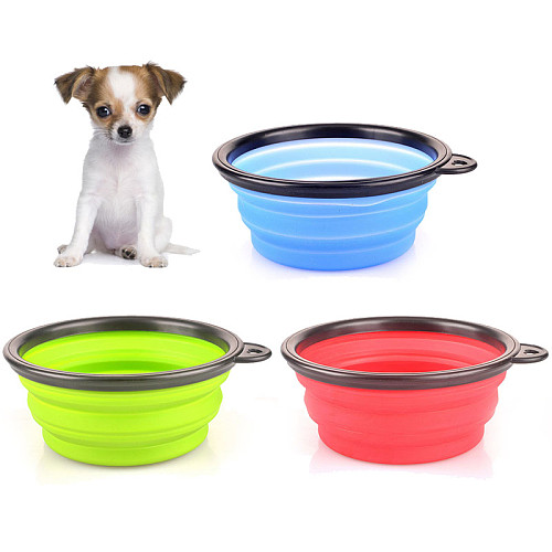 Silicone collapsible feeding bowl for pet dog outdoor feeder for cats folding portable pet silica gel bowls dog water dispenser