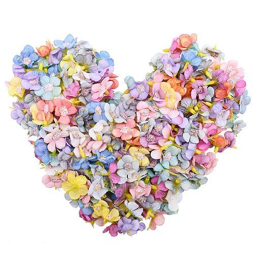 50Pcs 2cm Multicolor Daisy Flower Heads Mini Silk Artificial Flowers for Wreath Scrapbooking Home Wedding Decoration