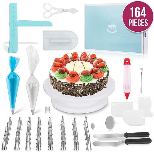 164PCS/Set Multifunction Cake Turntable Set Cake Decorating Tools Kit Pastry Nozzle Fondant Tool Kitchen Dessert Baking Supplies
