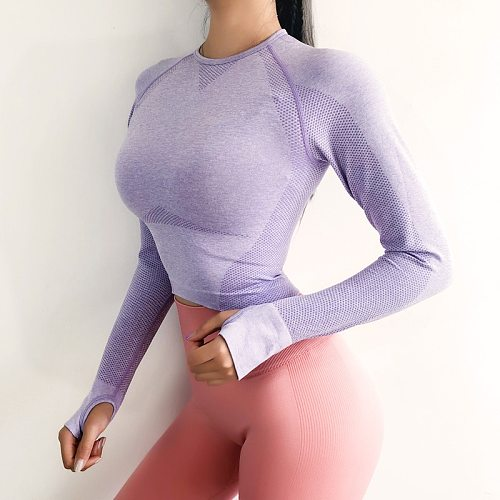 Seamless Crop Top For Women Gym Pink Long Sleeve Workout Fitness Sports Top With Thumb Hole Fitted Skinny Energy Yoga Shirts
