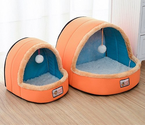 Cat Nest House with Ball Toy Pet Dog Puppy Bed Mat Warm Soft Pet Dog Kennel Cushion Washable Cat Sleeping Nest Castle