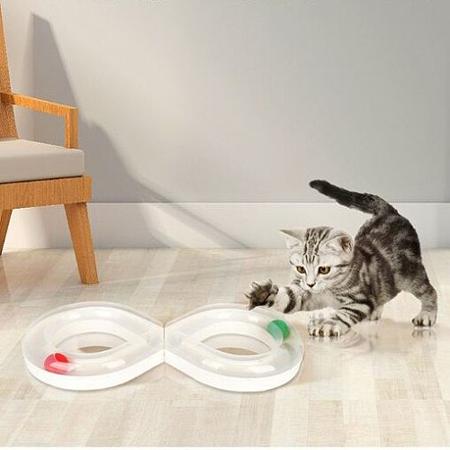 Cats Plastics Disk Ball Toy Interactive Kitten Training Turntable Tunnel Toy Funny Non-slip Cat Track Ball Toys Pets Supplies