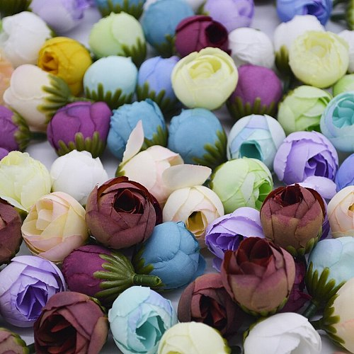 20pcs Silk Tea Rose Bud Head Artificial Flowers For Home Wedding Decoration DIY Wreaths Material Gifts Scrapbooking Craft