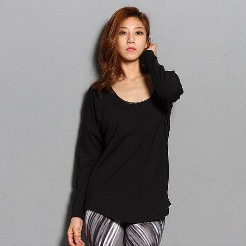 Sexy Back Mesh Long Sleeve Sport T Shirt Black Modal Yoga Shirts Women Gym Workout Tops Loose U Neck Breathable Fitness Clothing
