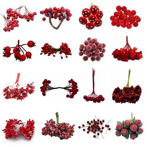 Red Theme Artificial Flower Cherry Stamen Berries Bundle DIY Christmas Decoration Wedding Cake Gift Box Wreaths Xmas Decor