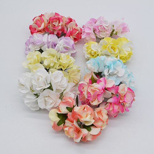 New 72pcs 3.5cm Silk Artificial Rose Flower Bouquet For Wedding Party Decoration Scrapbooking Wreath DIY Craft Flower