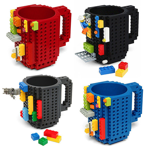 350ml Creative Milk Mug Coffee Cup Building Blocks Cup DIY Building Blocks Puzzle Drink Cup Block Christmas Gift Mug Design