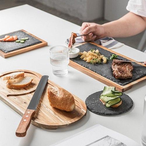 Solid Wood Tray Black Solid Wood Western Food Plate Rock Plate Acacia Wood Plate Western Food Japanese Food Plate Snack Dessert